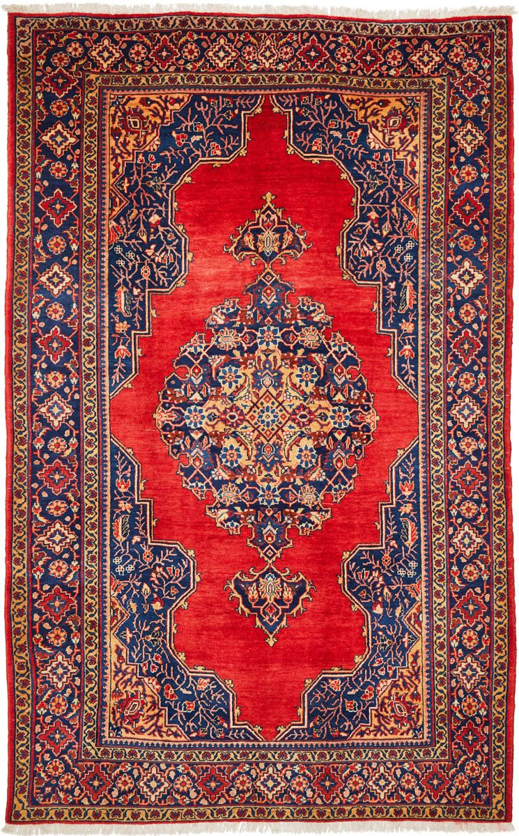Hand Knotted Indian Wool Rug Red