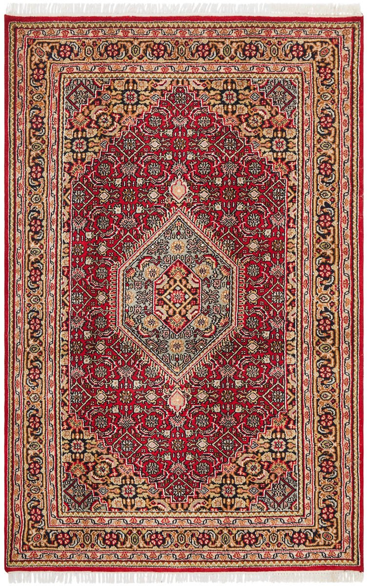 Hand Knotted Indian Wool Rug Red Mul