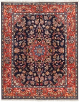 Hand Knotted Persian Kashan Rug - Blue