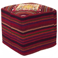 HAND KNOTTED PERSIAN OTTOMAN-6-SQ-MIX