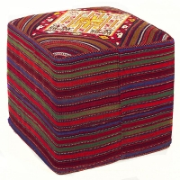 HAND KNOTTED PERSIAN OTTOMAN-8-SQ-MIX-OK