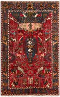 Hand Knotted Nahavand Rug - Red & Cream