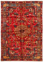 Hand Knotted Nahavand Rug - Red & Multi