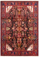 Hand Knotted Nahavand Rug - Red & Black