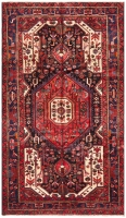 Hand Knotted Nahavand Rug - Red & Ivory