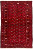 Hand Knotted Persian Torkaman Rug - Red
