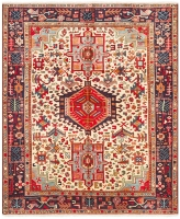 HAND KNOTTED PERSIAN HERIZ RUG - IVORY &