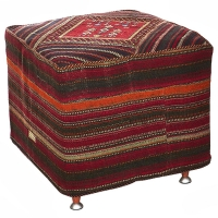 HAND KNOTTED PERSIAN OTTOMAN -244