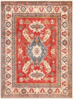 HAND KNOTTED KAZAK RUG - CREAM, RED & BL