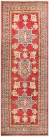 HAND KNOTTED KAZAK RUG - RED, YELLOW & M