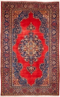 HAND KNOTTED INDIAN WOOL RUG - RED & NAV
