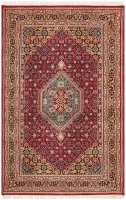 Hand Knotted Indian Wool Rug - Red & Mul