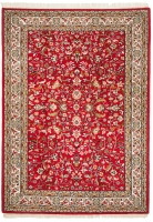 Hand Knotted Indian Wool Rug - Red